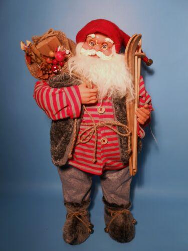 Große Weihnachtsmann Puppe mit Skistöcke 61 cm Schaufenster  Deko 70113