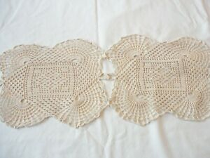 "Doily /Table Runner / Dresser Scarf Hand Crochet Ecru 41"" x 8 1/2"""
