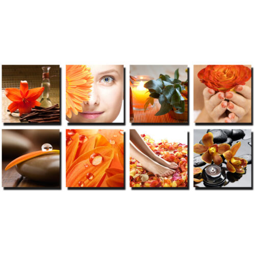 Orange 8 Pc Beauty Salon Spa Massage Decal Decoration 24 x 24 Canvas Mural CM-TO