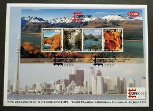1996-New-Zealand-Toronto-CAPEX-Stamp-Exhibition-Scenery-Mountain-Lake-MS-FDC