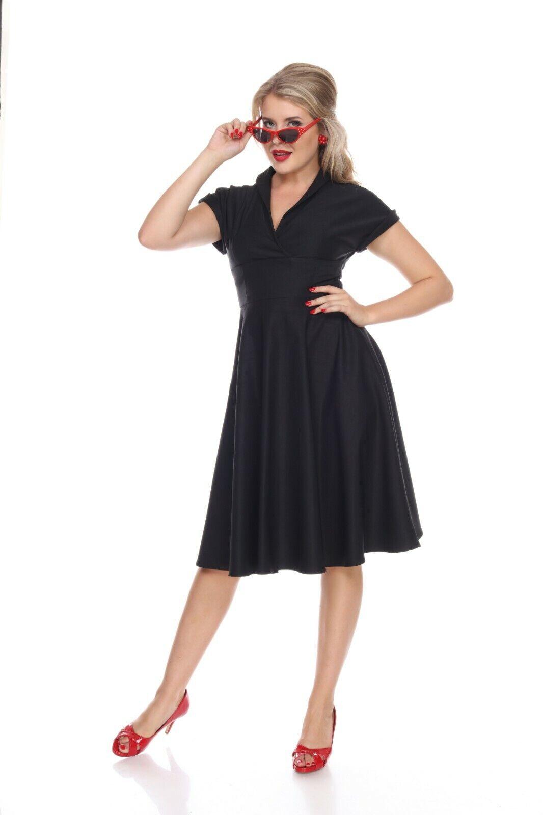 Bettie Page Meet Me at the Watercooler Dress - schwarz