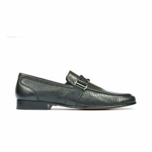 Mocassins formels en cuir noir et chaussures à enfiler formelles pour hommes