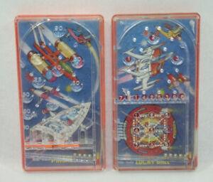 2-FLIPPERS-poche-1976-BLUEBOX-Mini-Mate-PINBALL-LUCKY-BALL-jeux-a-billes-vintage