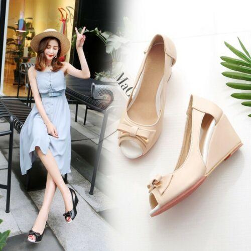 Women/'s Summer BOW Peep Toe Plate-forme Wedge Sandal Chaussures à Enfiler Loisirs Toutes Les Tailles