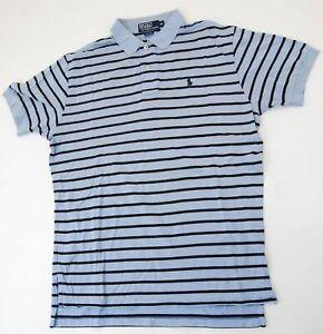 Ralph-Lauren-Poloshirt-Polohemd-Herren-Gr-M-blau-gestreift-Knopf-S840