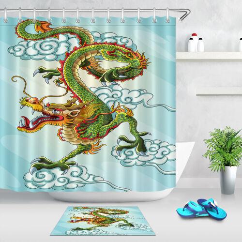 72x72/'/' Chinese Green Dragon Painting Bathroom Shower Curtain Waterproof Fabric