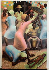 HAITIAN HAITI ART-VODOO CEREMONY-SGND RENE EXUME-OIL CANVAS