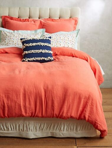 Anthropologie SOFT WASHED LINEN Duvet Cover FULL Coral Portugal Bedding NWT