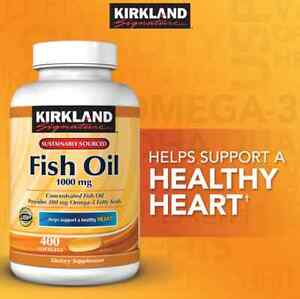 Kirkland Signature Omega-3 Fish Oil Concentrate 1000 mg, 400 Softgels Free Ship 96619240692 | eBay