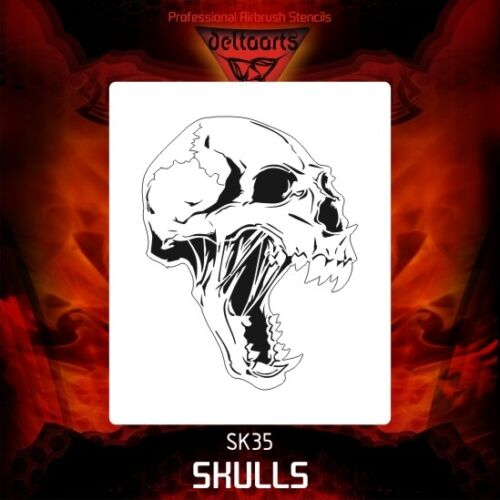 Airbrush stencil template DELTAARTS SKULL 35-4 SIZES AVAILABLE MINI MID