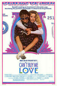 CAN'T BUY ME LOVE (1987) ORIG MOVIE POSTER! PATRICK DEMPSEY ROLLED!