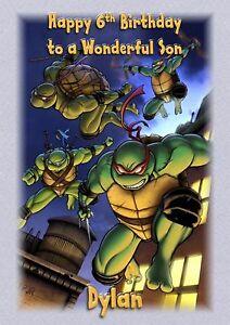 personalised birthday card teenage mutant ninja turtles grandson son