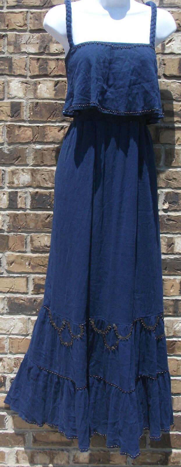 NWT STYLE & CO braided strap cabana embellished beaded bluee sun dress, size PM,L