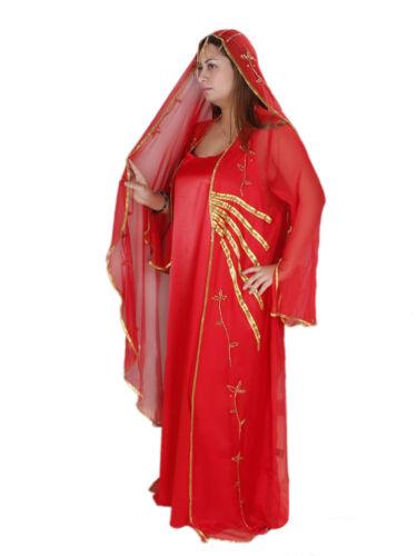 in Abaya orientale Abito da pezzi rosso Aby00195 tre in stile Set oro wwpxTq
