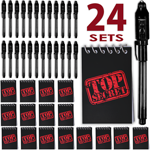 """with UV light Invisible Ink Pen Black + Mini/""""TOP SECRET/"""" Notepads 24 Pack"""