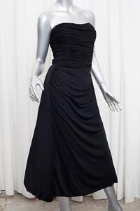 67554f9387ab BALENCIAGA Womens Black Ruched Strapless A-Line Tea-Length Dress 38 ...