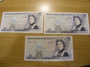 3 x Five Pounds Banknotes D Somerset DT80 475651-653, UNC & Consec very crisp