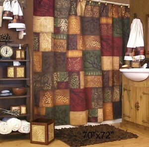 Image Is Loading Cabin Pine Shower Curtain Rustic Lodge Log