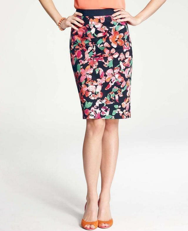 Pre-owned Ann Taylor Petite Wild Blooms Skirt Size 0P