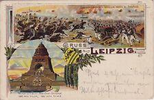 uralte Lihto-AK Gruss aus Leipzig 1907 Probsthaide Russ. Cavallerie+franz.Infant