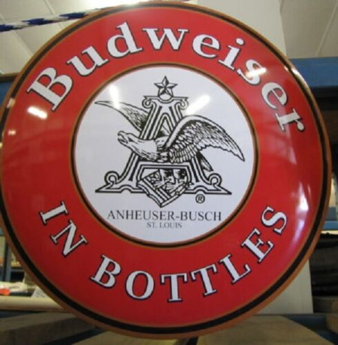 "Beer U.S Anheuser Busch Large 17/'/'X17/"" Budweiser in Bottles Dome Metal Sign"
