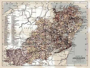 Details about An enlargement of an 1880 map of the County of Aberdeen,  Scotland.