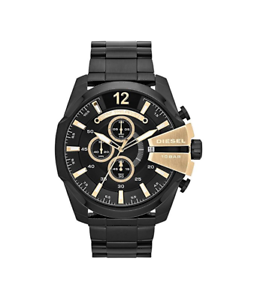 99e122d23 Image is loading New-Diesel-Mega-Chief-Chronograph-Black-Gold-Stainless-