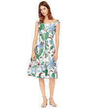 NWT TORY BURCH Wisteria fil coupe floral off the shoulder bateau midi dress 0 XS