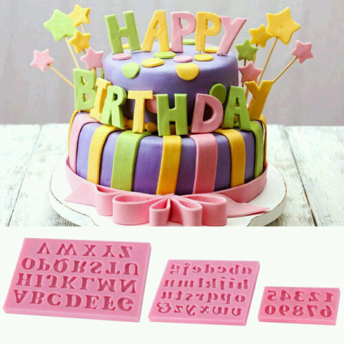 PF DIY Cake Letter/&Number Mini Mould Fondant Cookie Candy Silicone 3pcs//set Mold