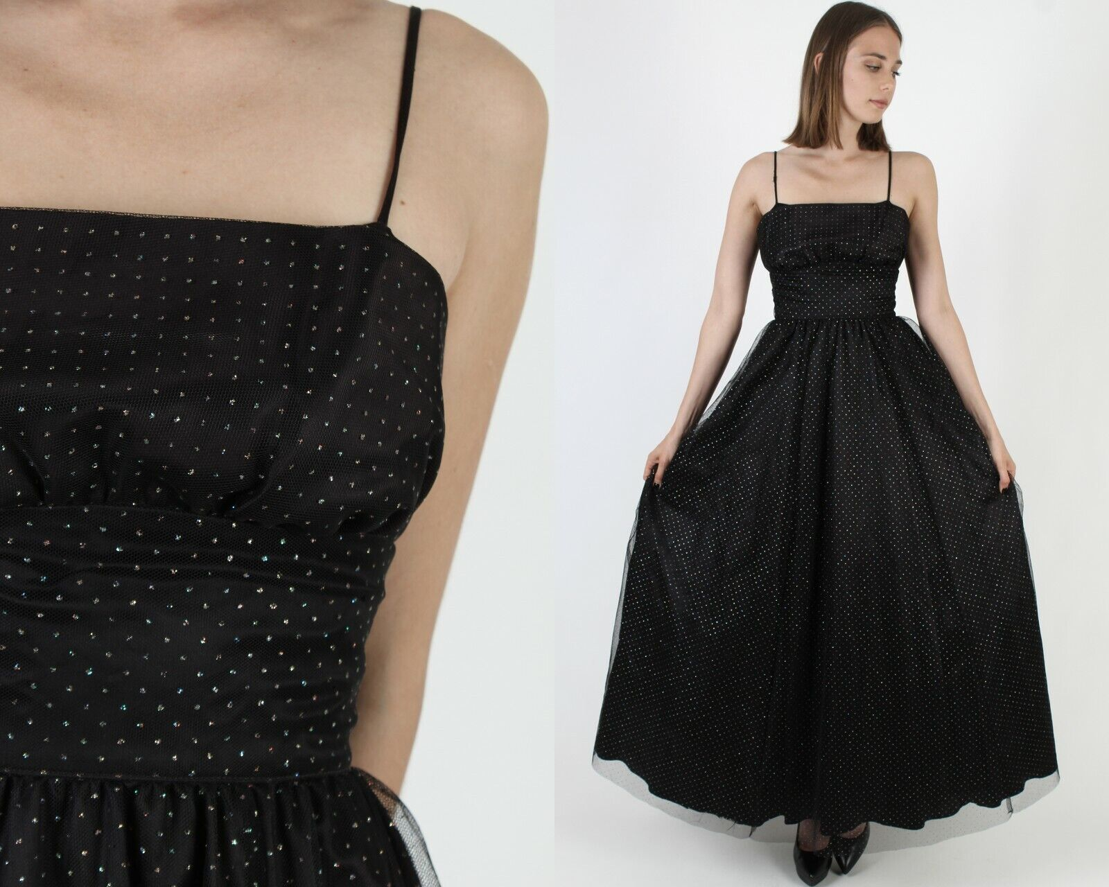 Vintage 80s Gunne Sax Dress Black Chiffon Rainbow… - image 1