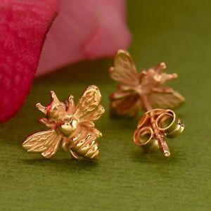 18K-Rose-Gold-Bumblebee-Honey-Bee-Studs-Stud-Post-Earrings-Gift-Mom-Wife