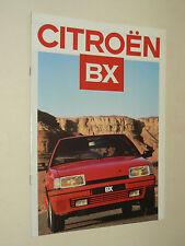 Prospectus CITROEN BX  1987  brochure catalogue car auto prospekt