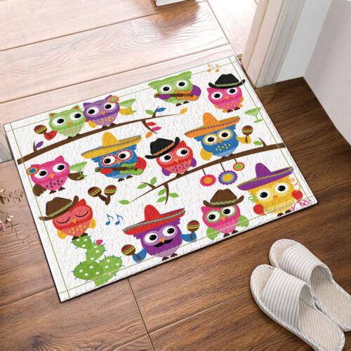 Kitchen Bath Bathroom Shower Floor Home Door Mat Rug Non-Slip Cartoon owl new