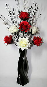 Image Is Loading Artificial Silk Flower Arrangement Red Amp White In