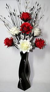Artificial silk flower arrangement red white in black modern vase image is loading artificial silk flower arrangement red amp white in mightylinksfo