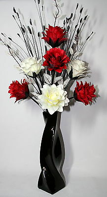 Artificial Silk Flower Arrangement Red White In Black Modern Vase 80cm Tall Ebay