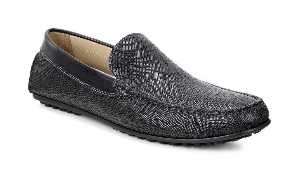 ECCO Hombre Cuero Negro Saffiano 580424 híbrido Mocasín Slip-on Loafer