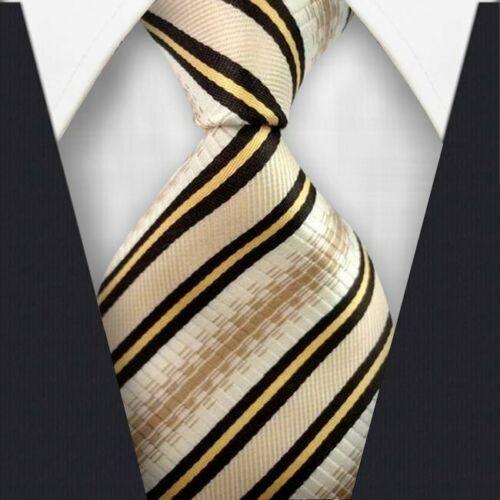 New Mens Striped WOVEN JACQUARD Silk Men/'s Suits Tie Necktie Beige Gold #L313