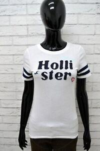 Maglia-HOLLISTER-Donna-Taglia-Size-S-Maglietta-Shirt-Woman-Manica-Corta-Bianco