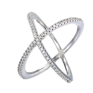 Fashion-Silver-Plated-Criss-Cross-CZ-Micro-Pave-Setting-X-Ring-Size-6-9