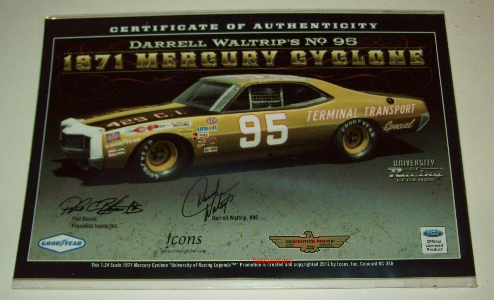 Darrell Waltrip 1971 1971 1971 Mercury Cyclone Signed Autograph 1 24 NASCAR Legends 3310bd