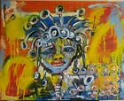 Dion Reed Original.Signed with COA.Basquiat style art.Stretched canvas.16x20inch