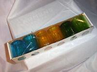 Praktiker 6x Windlicht Teelichthalter Blau, Gelb, Grün Glas Ø 5,5cm H 6,8cm Neu