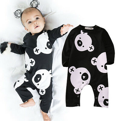 Newborn Infant Kids Baby Boy Girl Cotton Romper Jumpsuit Bodysuit Clothes Outfit