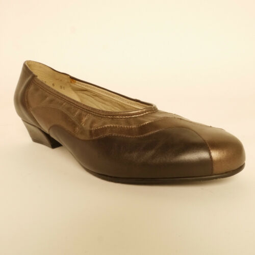 Ladies Equity Molly Brown Bronze Gold Leather Court Shoe EE Fitting