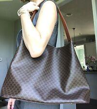 Auth CELINE XL Macadam Shoulder Bag Brown PVC Leather Hobo Italy Vintage Large