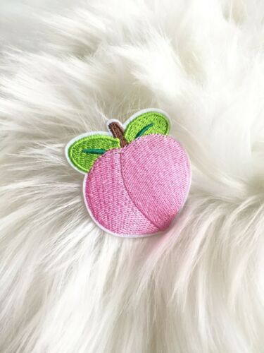 Peach Kawaii Embroidered Iron On Patch Appliqué
