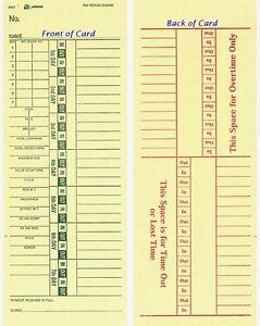 (200) ADAMS 9657 TIME CARDS FOR ACROPRINT AMANO LATHEM FRONT LOADING TIME CLOCKS