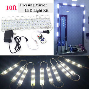 10FT White Dressing Mirror Lighted Cosmetic Makeup Vanity LED Light Remote Power /2018650