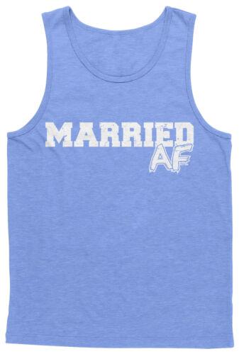 Married AF Funny Humor Joke Vulgar Wedding Saying Marriage Statement Mens Tank
